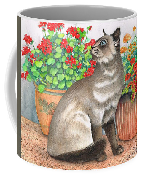 Oriental Cat Coffee Mug featuring the painting Oriental Cat by Val Stokes