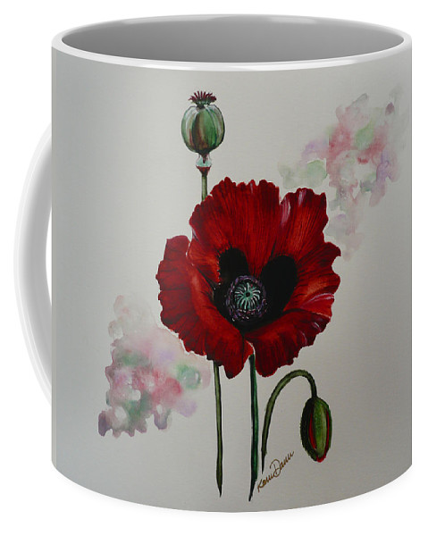 Floral Poppy Red Flower Coffee Mug featuring the painting Oriental Poppy by Karin Dawn Kelshall- Best