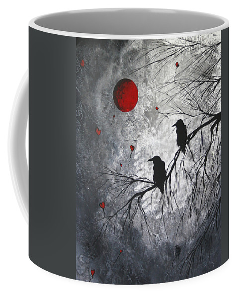 Birds Coffee Mug featuring the painting Original Abstract Surreal Raven Red Blood Moon Painting The Overseers by MADART by Megan Duncanson