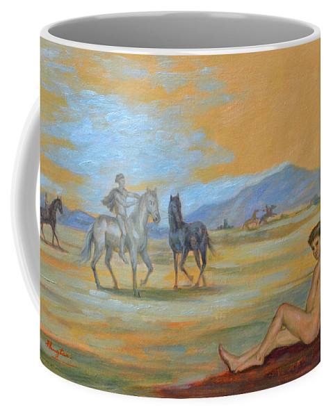 Original. Oil Painting Art Coffee Mug featuring the painting Original Oil Painting Art Male Nude With Horses On Canvas #16-2-5 by Hongtao   Huang