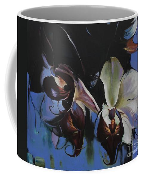 Lin Petershagen Coffee Mug featuring the painting Orkidoo by Lin Petershagen