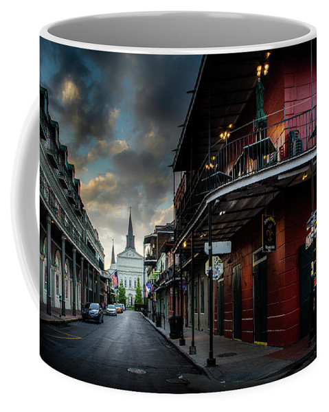 Fine Art New Orleans Coffee Mug featuring the photograph Orleans Street To St Louis Cathedral by Greg Mimbs