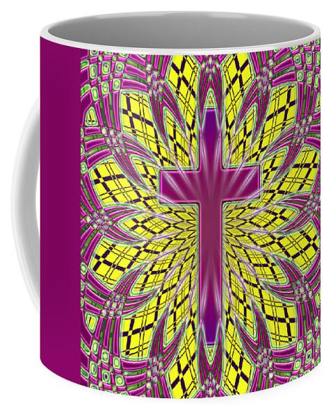 Coffee Mug featuring the digital art Ornamental Cross by David G Paul