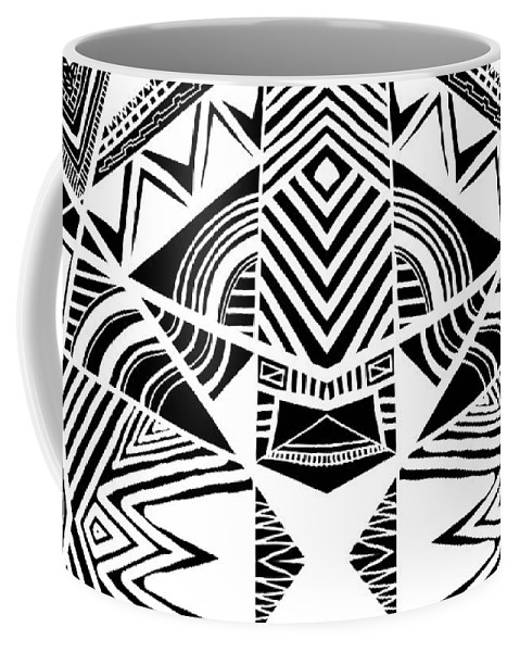 Pattern Coffee Mug featuring the digital art Ornamental Intersection - Abstract Black And White Graphic Drawing by Nenad Cerovic