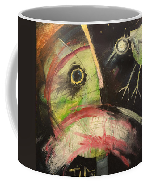 Bird Coffee Mug featuring the painting Ornithophobia by Tim Nyberg