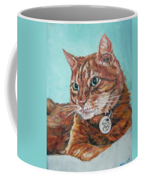 Cat Coffee Mug featuring the painting Oscar by Bryan Bustard