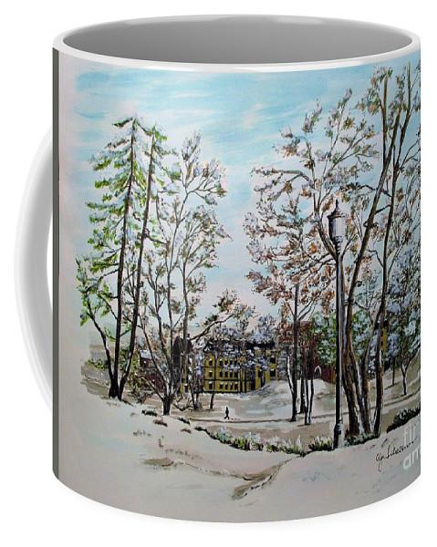 Oslo Coffee Mug featuring the painting Oslo In Winter by Olga Silverman