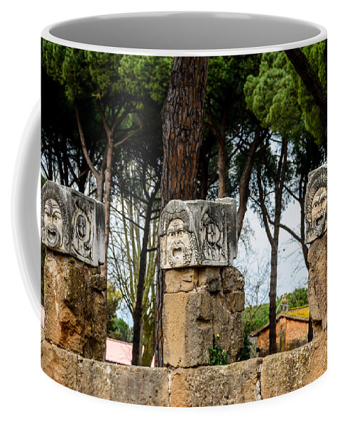 Ostia Antica - Theatre Marble Masks Coffee Mug featuring the photograph Ostia Antica - Theatre Marble Masks by Debra Martz