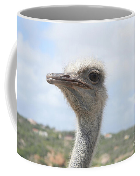 Ostrich Coffee Mug featuring the photograph Ostrich Head II by Thomas Marchessault