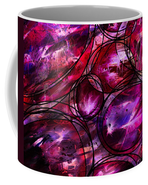 Abstract Coffee Mug featuring the digital art Other Worlds by Rachel Christine Nowicki