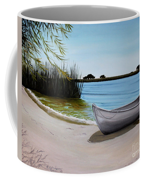 Landscape Coffee Mug featuring the painting Our Beach by Elizabeth Robinette Tyndall