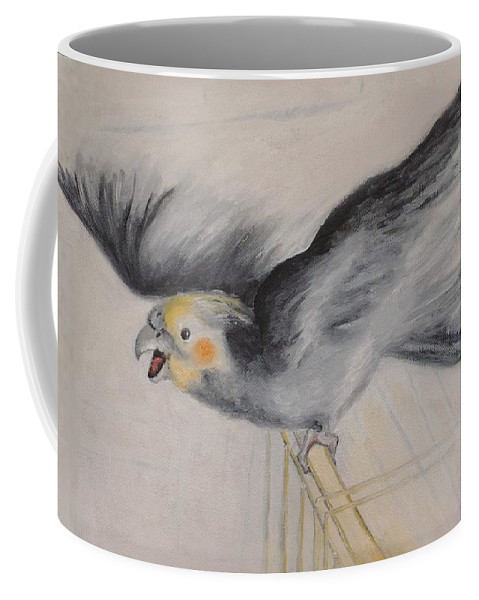 Cockatiel.pet Coffee Mug featuring the painting our cockatiel Coco by Helmut Rottler