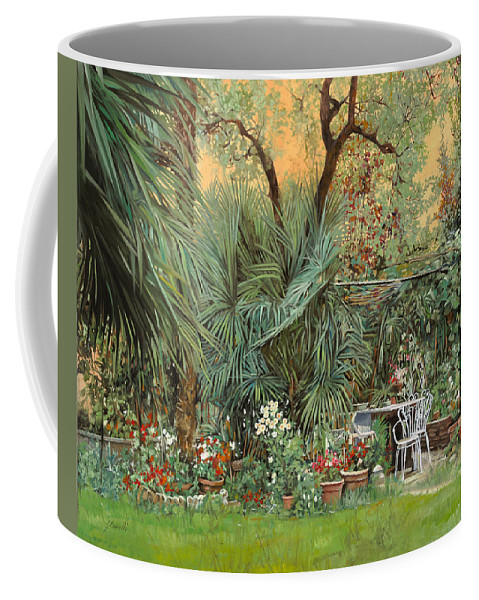 Garden Coffee Mug featuring the painting Our Little Garden by Guido Borelli