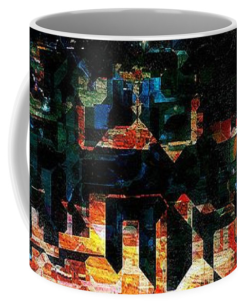 Semi-abstract Coffee Mug featuring the painting Our Little Town by RC DeWinter