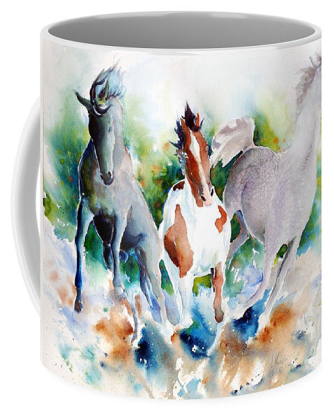Horses Coffee Mug featuring the painting Out Of Nowhere by Christie Martin