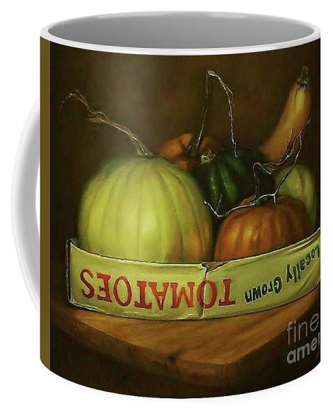 Pumpkins Coffee Mug featuring the painting 'out Of Season' by Linda Sosangelis