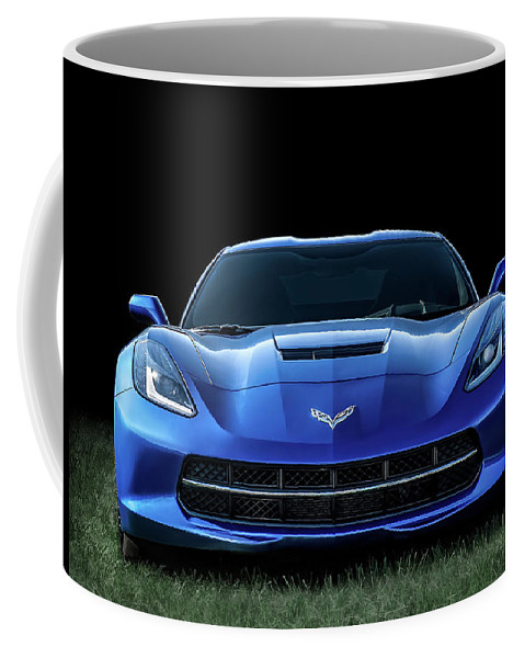 Corvette Coffee Mug featuring the digital art Blue 2013 Corvette by Douglas Pittman