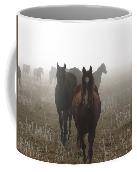 Animals Coffee Mug featuring the photograph Out Of The Mist by DeeLon Merritt