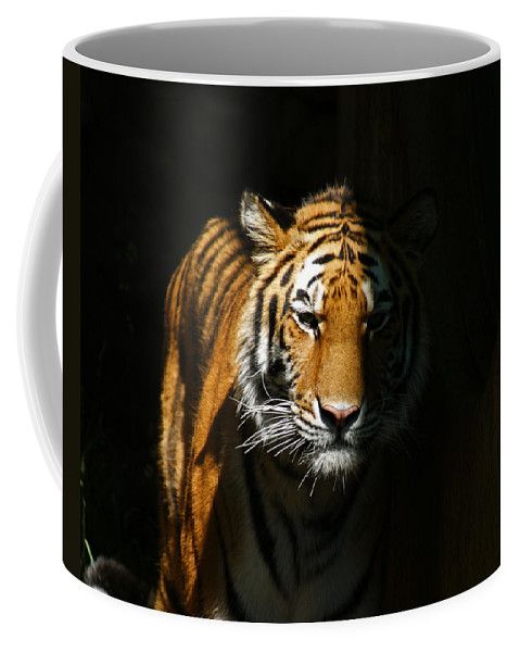 Tiger Coffee Mug featuring the photograph Out Of The Shadows by Ernie Echols