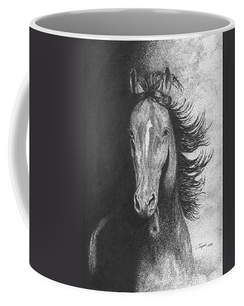 Horse Coffee Mug featuring the drawing Out Of The Shadows by Lawrence Tripoli