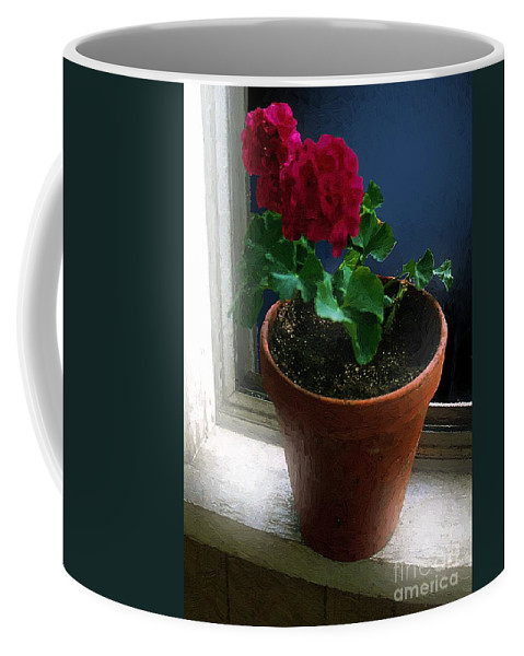 Clay Pot Coffee Mug featuring the painting Out On The Old Sunporch by RC DeWinter