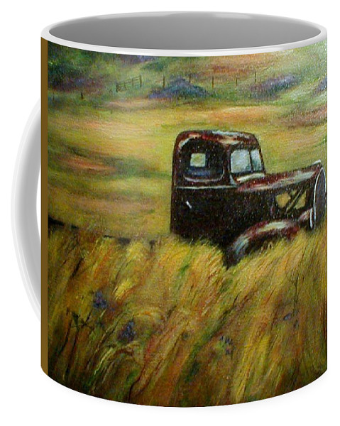 Vintage Truck Coffee Mug featuring the painting Out To Pasture by Gail Kirtz
