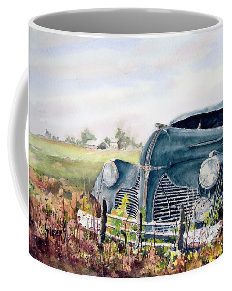 Classic Car Coffee Mug featuring the painting Out To Pasture by Sam Sidders
