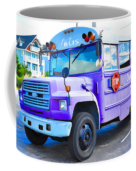 Bus Coffee Mug featuring the painting Outer Banks University Bus 2 by Jeelan Clark