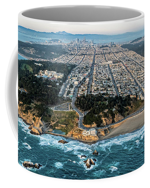 Outer Richmond Coffee Mug featuring the photograph Outer Richmond San Francisco Aerial by David Oppenheimer