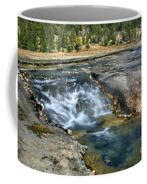 Water Falls Coffee Mug featuring the photograph Outlet Firehole Lake by Robert Bales