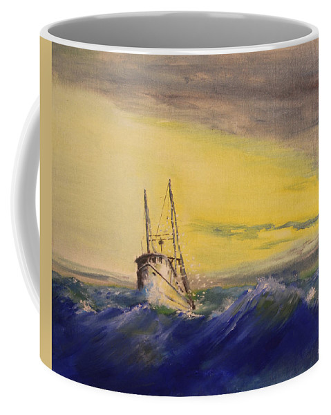 Boat Coffee Mug featuring the painting Outside The Jetty by Christopher Jenkins