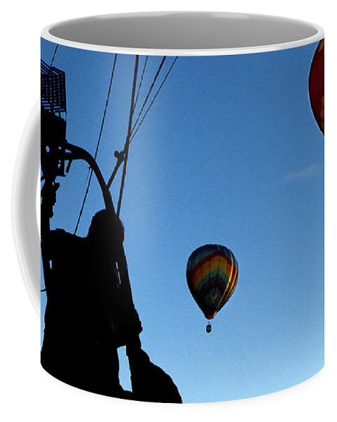 Bates Mill Coffee Mug featuring the photograph Over Auburn And Lewiston Hot Air Balloons by Bob Orsillo