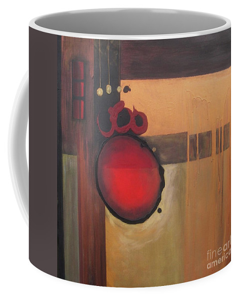 Abstract Coffee Mug featuring the painting Over Easy by Marlene Burns