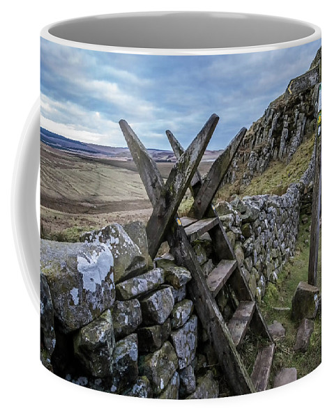 Roman Wall Coffee Mug featuring the photograph Over Ridley Common by David Pringle