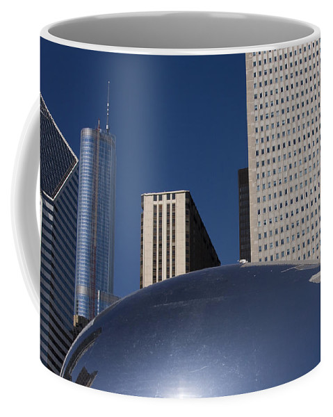 Chicago Windy City Wind Blue Sky Art Bean Building Skyscraper Tall High Big Large Reflection Coffee Mug featuring the photograph Over The Bean by Andrei Shliakhau
