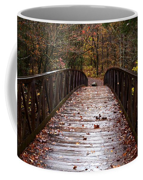 Red Coffee Mug featuring the photograph Over The Bridge by Charles Bacon Jr