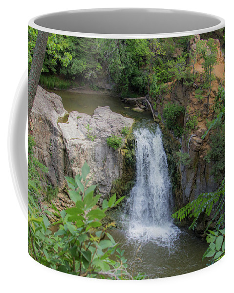 Ramsey Falls Coffee Mug featuring the photograph Over The Falls by Peter Bouman