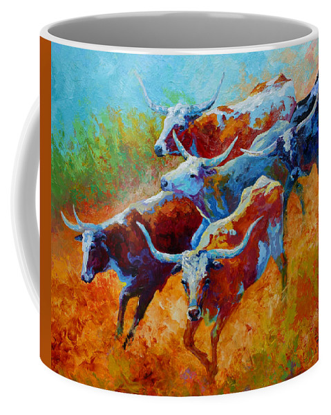 Western Coffee Mug featuring the painting Over The Ridge - Longhorns by Marion Rose