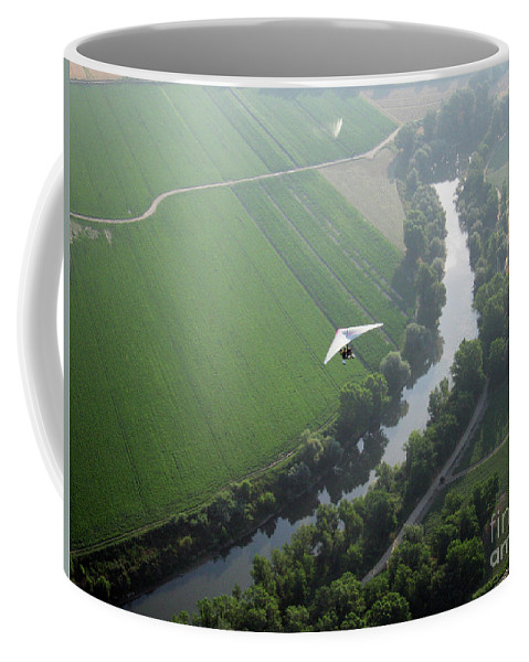 Balloons Coffee Mug featuring the photograph Over The River by Ilaria Andreucci