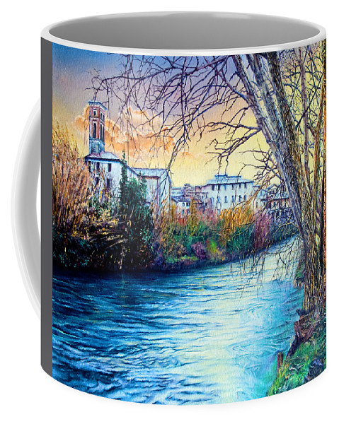 Trees Coffee Mug featuring the painting Over The River by Michel Angelo Rossi