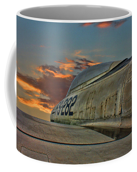Republic F-84g Thunderjet Coffee Mug featuring the photograph Over The Shoulder F-84g by Tommy Anderson