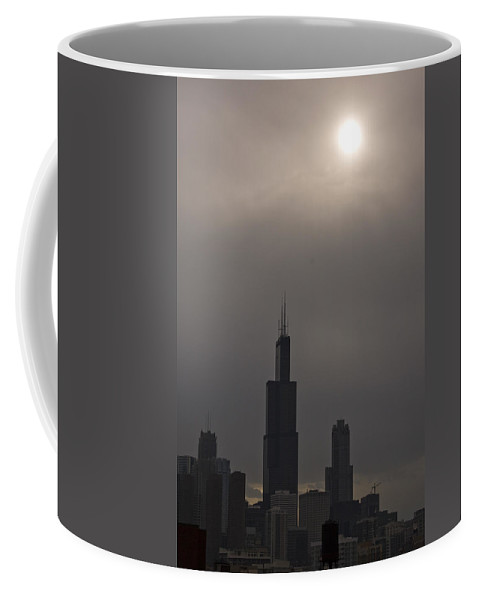 Chicago Windy City Skyline Skyscraper Willis Tower Sears Urban Metro Sun Cloud Cloudy Coffee Mug featuring the photograph Over The Willis Tower by Andrei Shliakhau