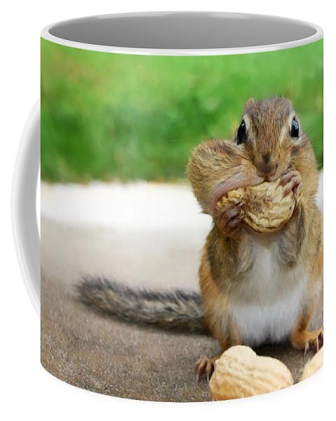 Chipmunk Coffee Mug featuring the photograph Overstuffed by Lori Deiter