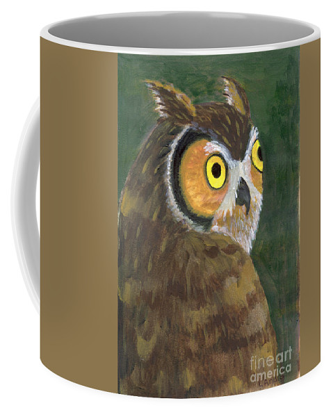 Owl Coffee Mug featuring the painting Owl 2009 by Lilibeth Andre