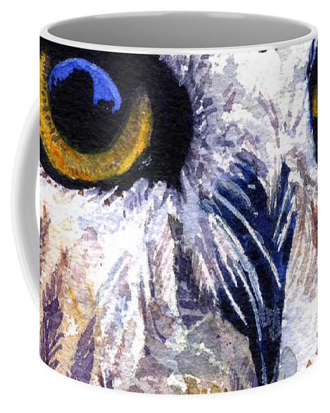 Eye Coffee Mug featuring the painting Owl by John D Benson
