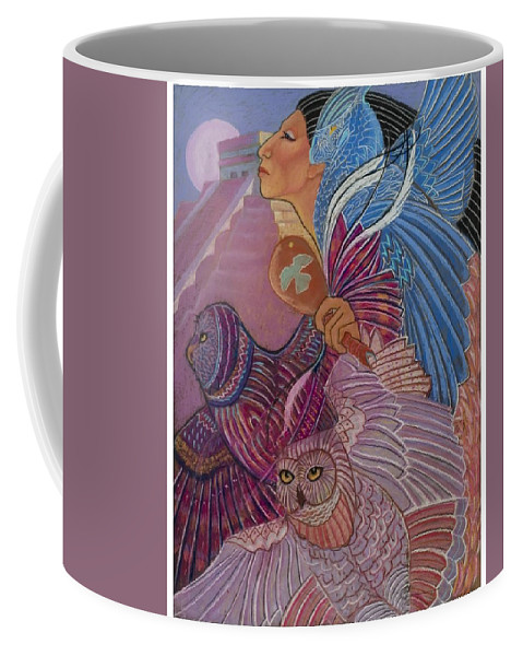 Mayan Woman With Her Owl Totoms At The Temple At Chichen Itza Central America Prymid Moon Shamaness Pastel Painting Fantasy Coffee Mug featuring the pastel Owl Woman At Chichen Itza by Pamela Mccabe