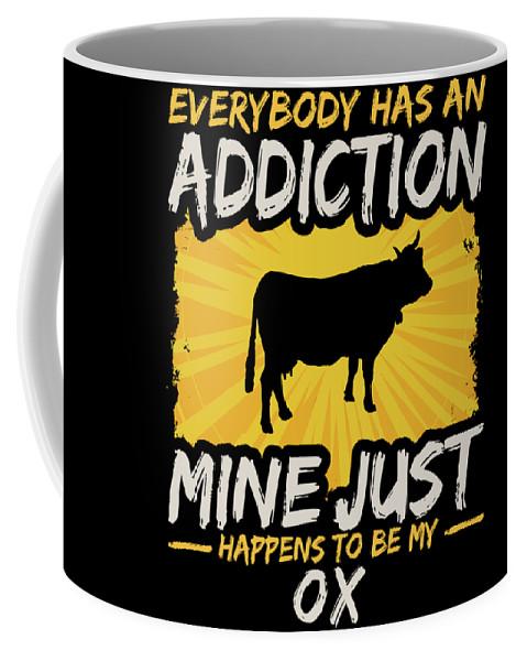 Animal Coffee Mug featuring the digital art Ox Addiction Funny Farm Animal Lover by Passion Loft