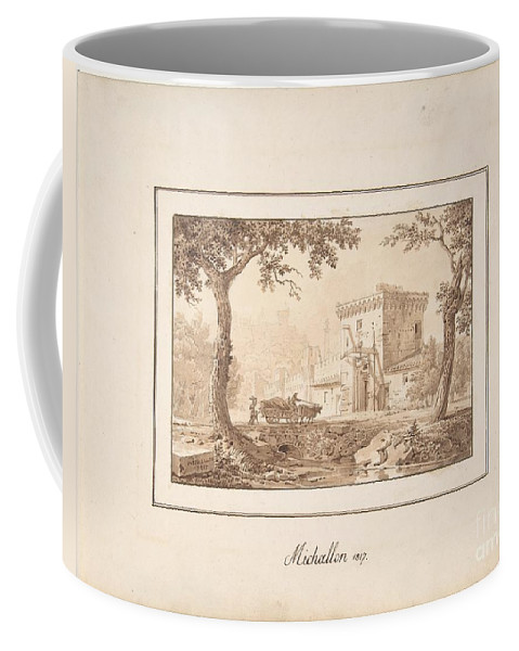Art Coffee Mug featuring the painting Oxcart Approaching A Fortified Building by Celestial Images