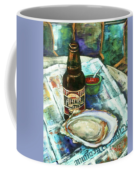 Oyster Coffee Mug featuring the painting Oyster And Amber by Dianne Parks