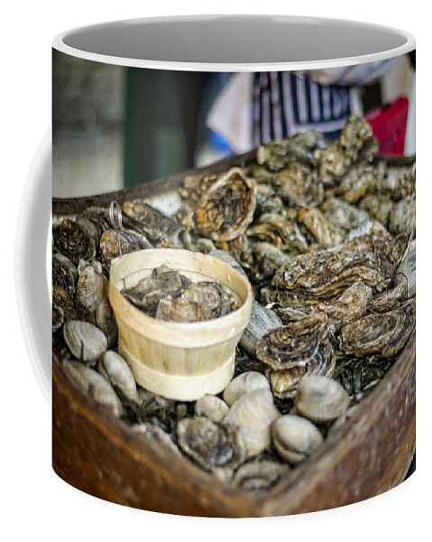 Oysters Coffee Mug featuring the photograph Oysters At The Market by Heather Applegate